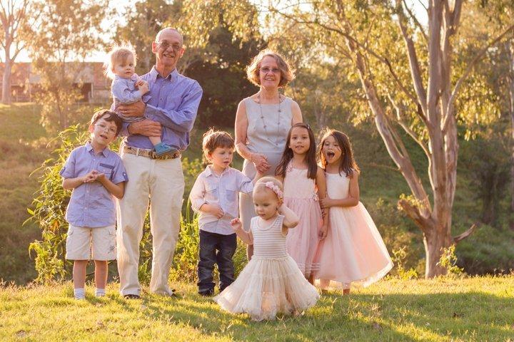Grandpa and Grandma with Taj, Ollie, Lachlan, Abigail, Phoenix and Ruby